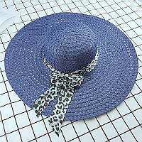 Стильная женская летняя пляжная шляпа с широкими полями и бантом синего цвета
