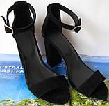 Viva! Красивые женские черные открытые  босоножки из натуральной качественной замши каблук 10 см лето, фото 4