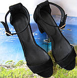 Viva! Красивые женские черные открытые  босоножки из натуральной качественной замши каблук 10 см лето, фото 5