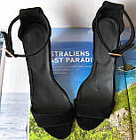Viva! Красивые женские черные открытые  босоножки из натуральной качественной замши каблук 10 см лето, фото 3