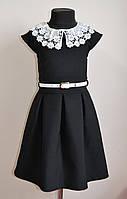 Детское школьное платье для девочки, черного цвета, фото 1