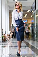 Стильная синяя юбка из эко-кожи и костюмной ткани, размеры 44, 46, 48, 50