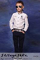 Стильные детские льняные брюки темно-синие