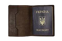 Шкіряна обкладинка на паспорт Grande Pelle 140х100 мм глянцева шкіра шоколад