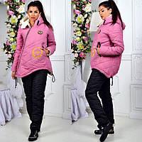 Костюм зимний женские на меху из овчины удлиненная куртка очень теплый