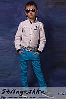 Стильные детские льняные брюки голубые