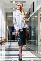 Чёрная юбка из эко-кожи и костюмной ткани, размеры 44, 46, 48, 50
