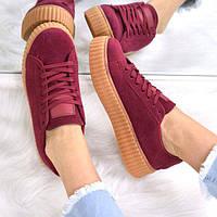 Кроссовки женские Puma Rihanna бордо 3535, полуботинки женские, обувь дропшиппинг