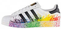 Мужские кроссовки Adidas Superstar Pride Pack White (Адидас Суперстар) белые