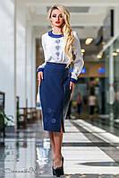 Юбка-карандаш из эко-кожи и костюмной ткани,синяя, размеры 46, 48, 50, 52