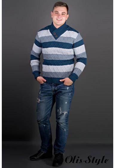 Мужской свитер в полоску Рубин синий