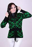 Красивая вязанная кофта с капюшоном Шотландка