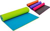 Коврик для фитнеса и йоги двухслойный 5558, 4 цвета: толщина 6мм, размер 1,73x0,61м
