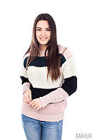 """Пудровый полосатый свитер узор """"английской резинки"""""""