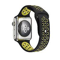 Ремешок Apple Watch 42mm Nike Sport Band Black/Green копия
