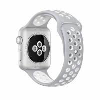 Ремешок Apple Watch 42mm Nike Sport Band Silver/White копия