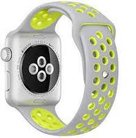Ремешок Apple Watch 42mm Nike Sport Band Silver/Yellow копия