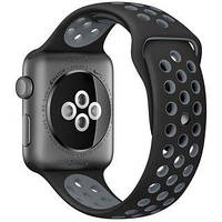 Ремешок Apple Watch 38mm Nike Sport Band Black/Gray копия
