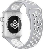Ремешок Apple Watch 38mm Nike Sport Band Silver/White копия