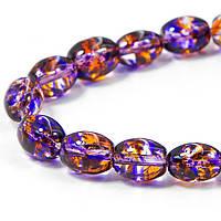 Бусины Стеклянные Окрашенные, Прозрачные, Овальные, Цвет: Пурпурный, Размер: 9x6x6мм, отверстие 1мм, около 100шт/нить, (УТ100006942)