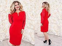 Платье женское с гипюровыми вставками, материал - креп-дайвинг, цвет - красный