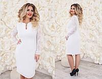 Платье женское с гипюровыми вставками, материал - креп-дайвинг, цвет - белый