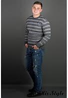 Мужской свитер  Паук серый
