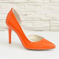 Стильные женские оранжевые туфли на шпильке, натуральная лаковая кожа. 36 размер