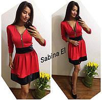 Двухцветные женские платья с рукавом 3/4 h-t70376