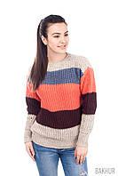 Яркий вязаный полосатый свитер