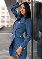 Джинсовое женское платье на запах l-t140379