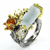 Кольцо серебро 925 пробы аквамарин 18х10 мм, фото 1