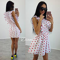 Летнее платье в мелком принте с коротким рукавом x-t140381r
