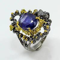 Кольцо серебро 925 пробы сапфир 10 карат