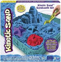 Набор песка для детского творчества - Kinetic Sand Замок из песка, голубой, 454 г, формочки, лоток