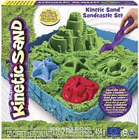 Набор песка для детского творчества - Kinetic Sand Замок из песка, зеленый, 454 г, формочки, лоток