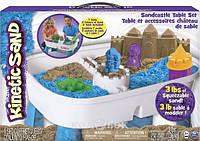 Набор песка для детского творчества - Kinetic Sand Table, голубой, натуральный, 1360 г, стол для игры, аксессуары