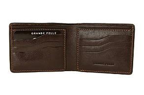 Портмоне Grande Pelle Onda 110х90х10 мм глянцева шкіра шоколад