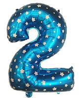 Цифра шар 2 фольгированный  голубой  со звездочками , 75х50  см.
