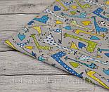 Отрез ткани №825 с зелёными и голубыми жирафами на сером фоне, размер 52*160, фото 2