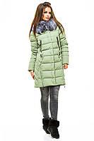 Удлиненная зимняя женская куртка с мехом чернобурки