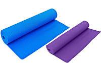 Коврик для фитнеса и йоги PVC 066, 2 цвета: толщина 6мм, размер 1,73x0,61м