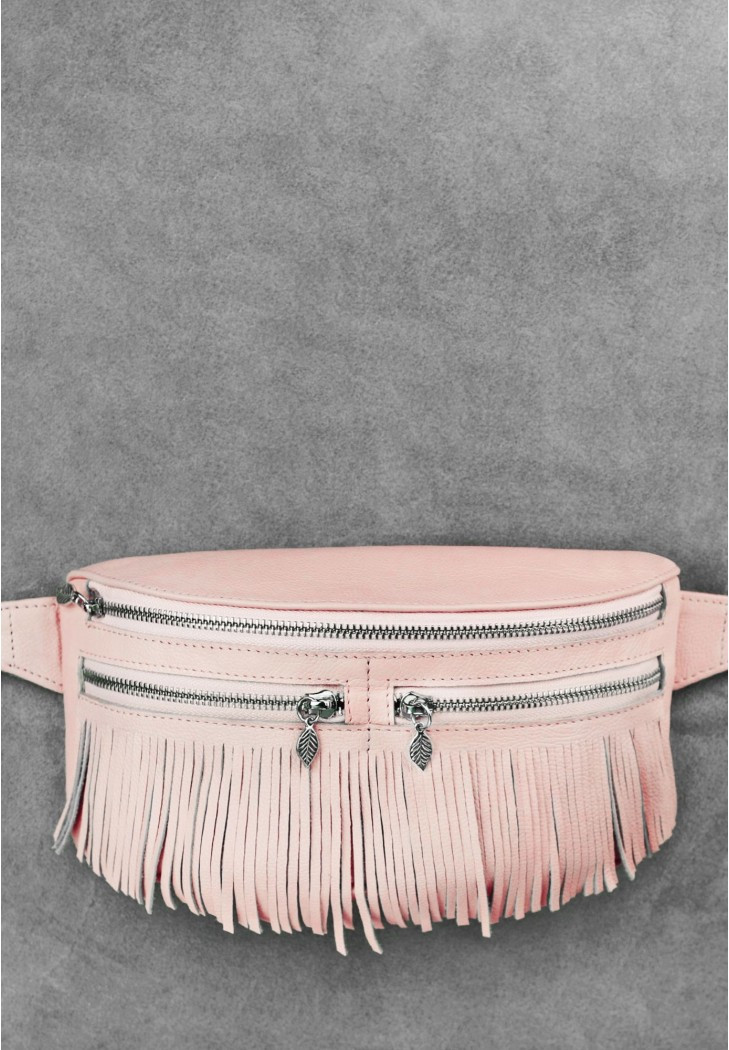 """Женская кожаная сумка на пояс """"Spirit"""". Розовая."""