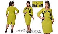 Платье женское прямое креп костюмкаукрашено вставками из сетки и эко-кожи размеры 48-56