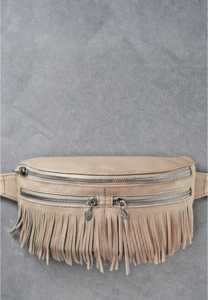 """Женская кожаная сумка на пояс """"Spirit"""". Светло-бежевая."""