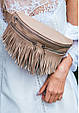 """Женская кожаная сумка на пояс """"Spirit"""". Светло-бежевая., фото 8"""