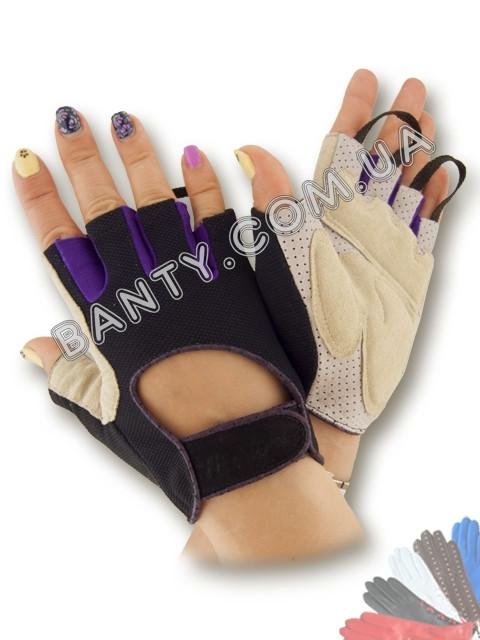 Перчатки женские без пальцев для фитнеса модель 474