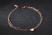 """Жіночий браслет на ногу позолочений """"Серце моря"""""""