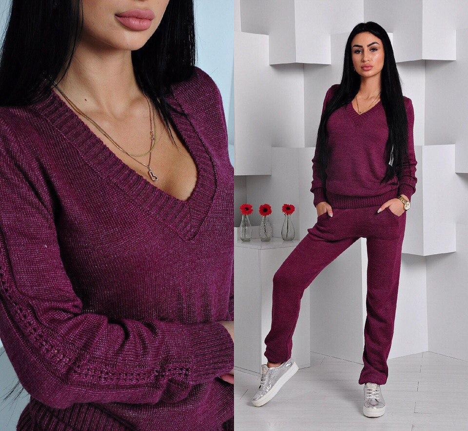 d2f6165b6782 Теплый женский спортивный костюм машинная вязка шерсть и акрил, цвет  марсала - Модный гардероб в