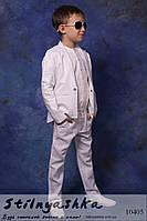 Модный льняной костюм на мальчиков белый